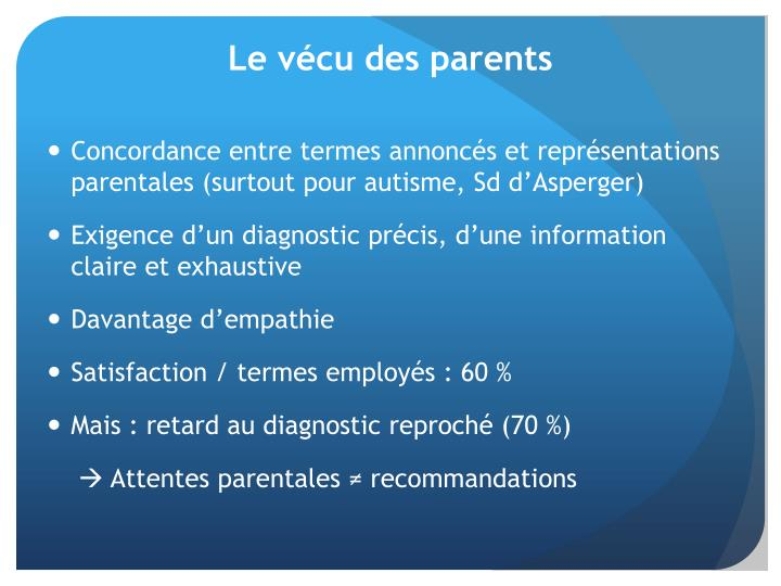 Le vécu des parents