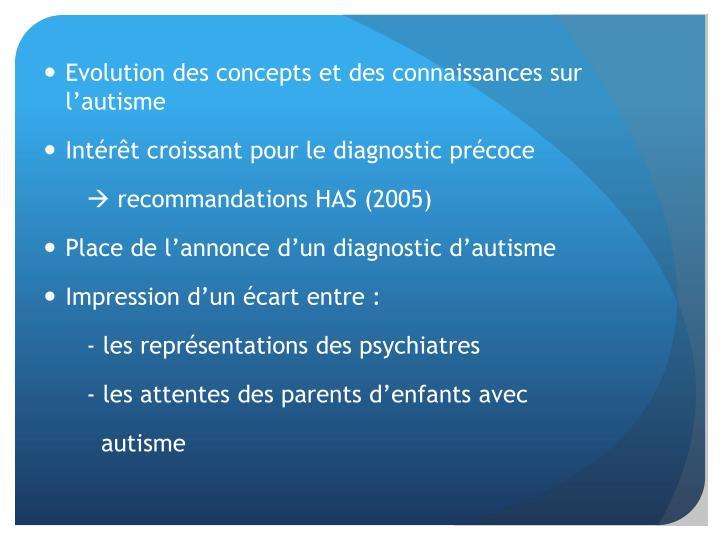 Evolution des concepts et des connaissances sur l'autisme