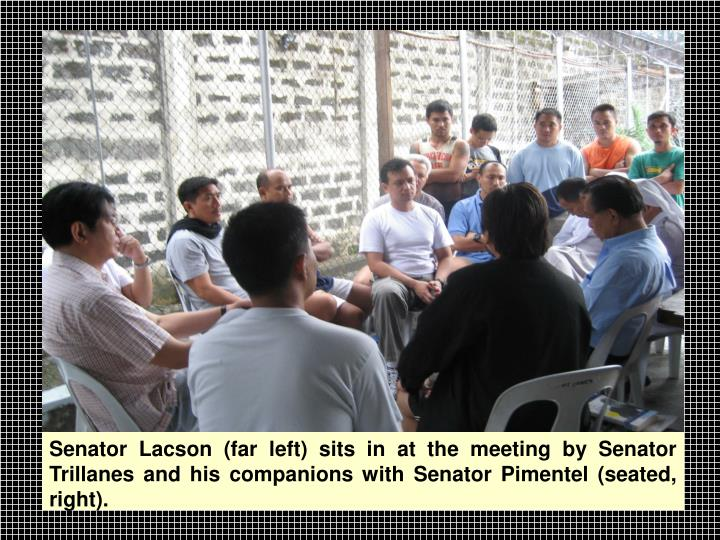 Senator Lacson (far left) sits in at the meeting by Senator Trillanes and his companions with Senator Pimentel (seated, right).
