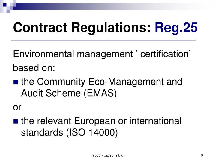 Contract Regulations: