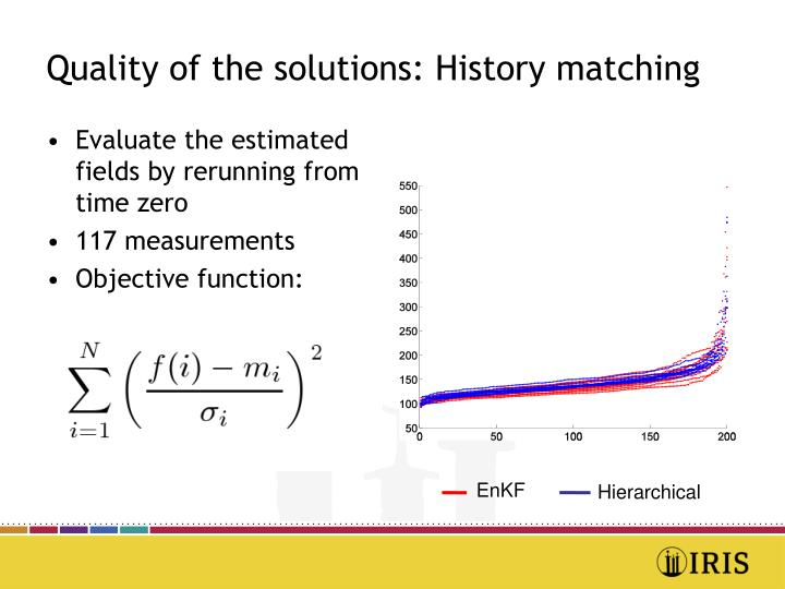 Quality of the solutions: History matching