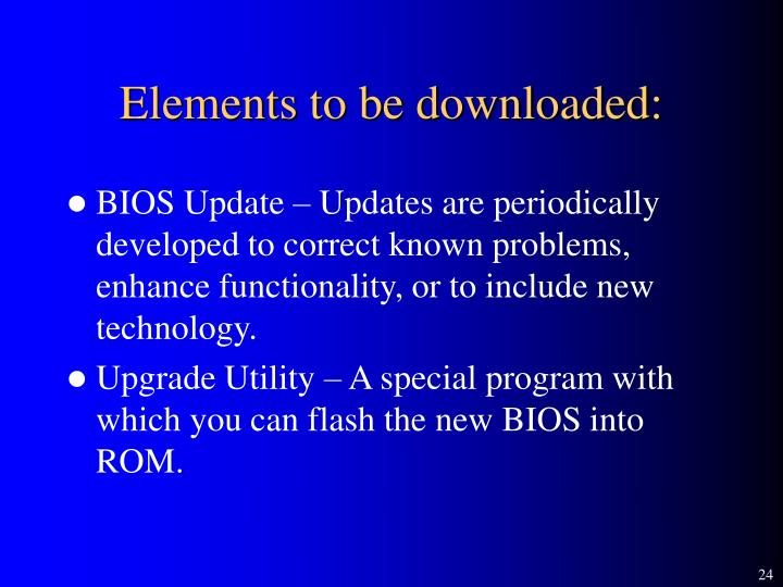 Elements to be downloaded: