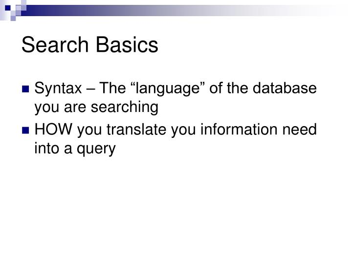 Search Basics
