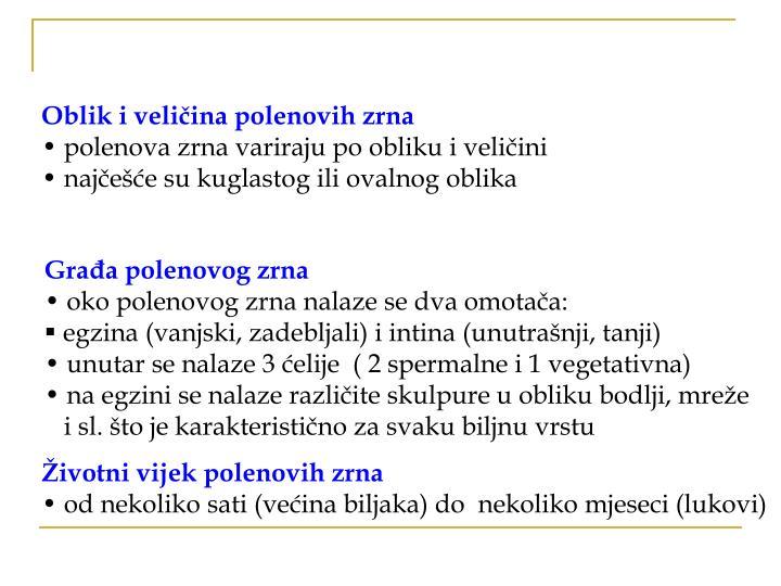 Oblik i veličina polenovih zrna