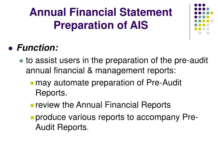 Annual Financial Statement Preparation of AIS