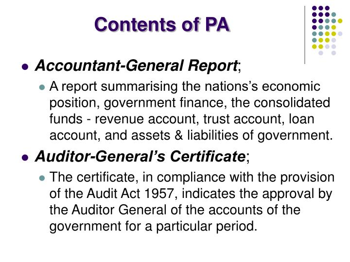 Contents of PA