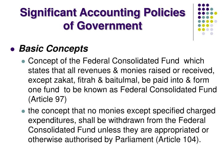 Significant Accounting Policies of Government