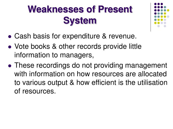 Weaknesses of Present System