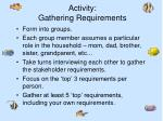 activity gathering requirements