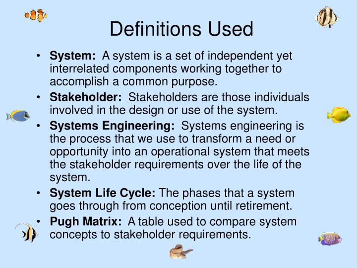 Definitions Used