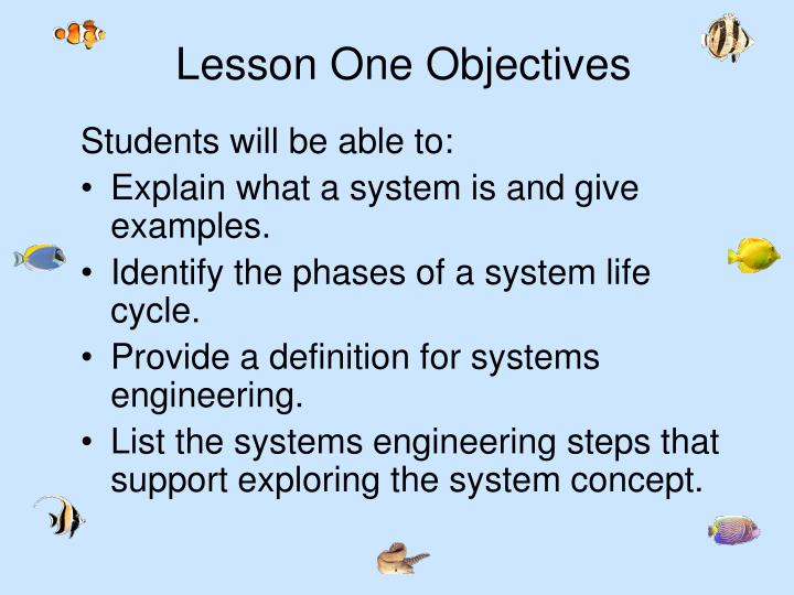 Lesson One Objectives