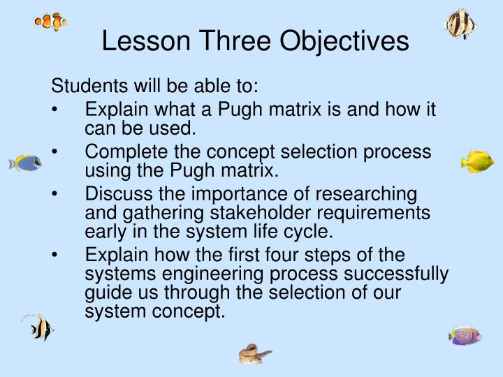 Lesson Three Objectives