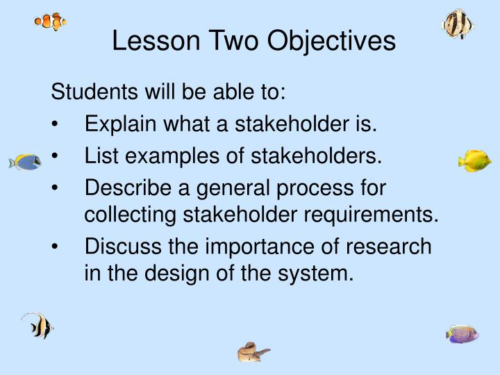 Lesson Two Objectives