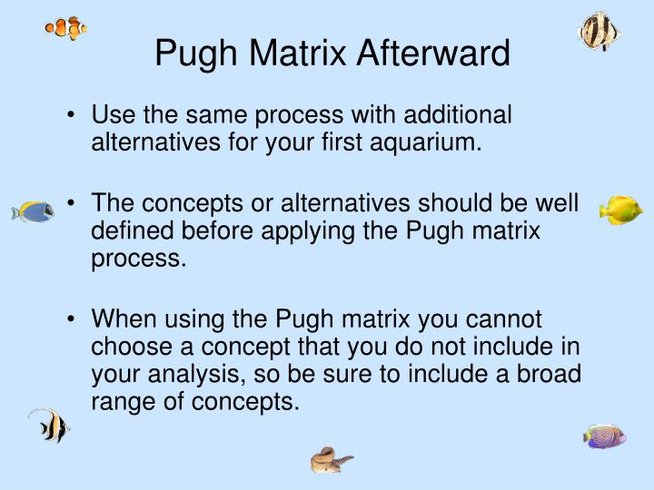 Pugh Matrix Afterward