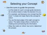 selecting your concept