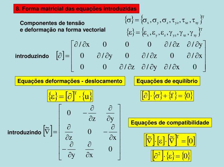 8. Forma matricial das equações introduzidas