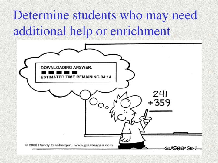 Determine students who may need