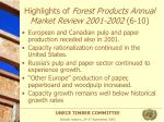 highlights of forest products annual market review 2001 2002 6 10