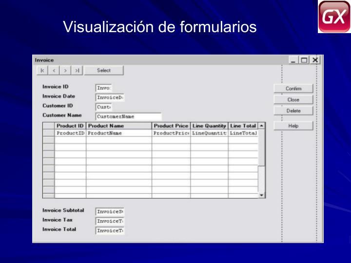 Visualización de formularios