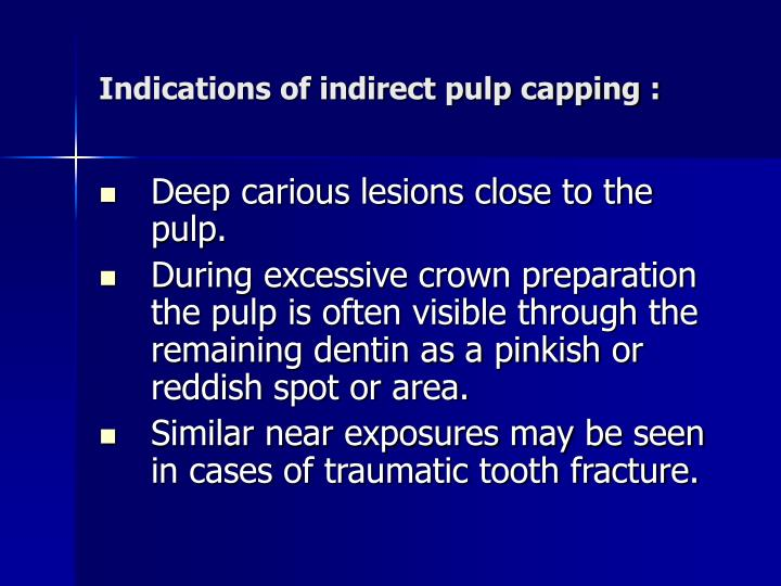 Indications of indirect pulp capping :