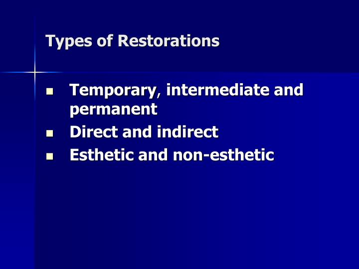 Types of Restorations