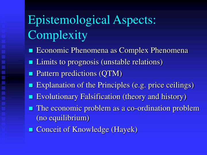 Epistemological Aspects: Complexity