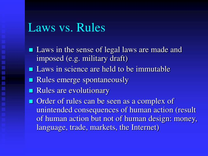 Laws vs rules