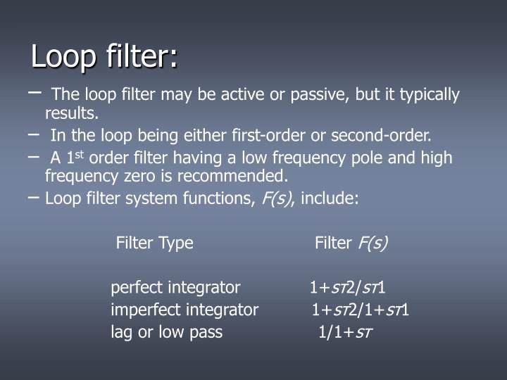 Loop filter: