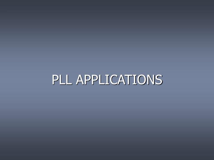 PLL APPLICATIONS