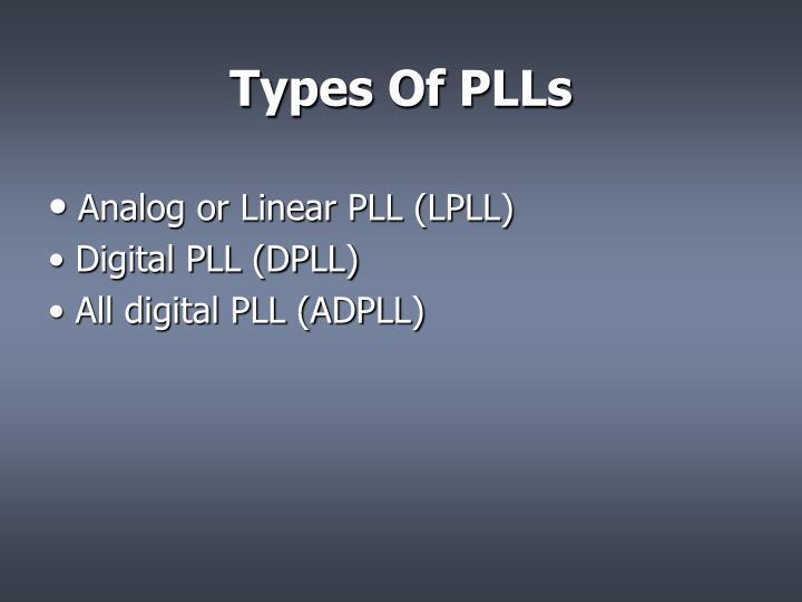 Types Of PLLs