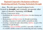 regional cooperative mechanism on disaster monitoring and early warning particularly drought