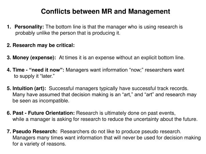 Conflicts between MR and Management