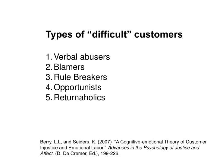 "Types of ""difficult"" customers"