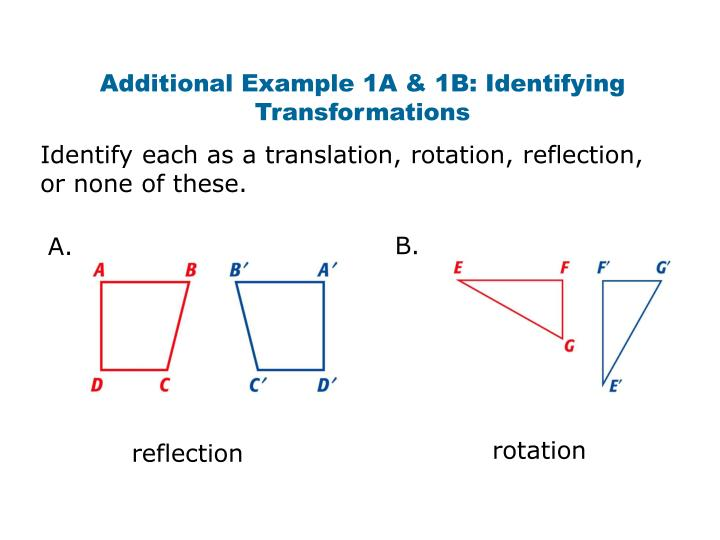 Additional Example 1A & 1B: Identifying Transformations