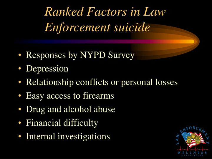 Ranked Factors in Law Enforcement suicide