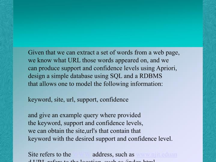 Given that we can extract a set of words from a web page,