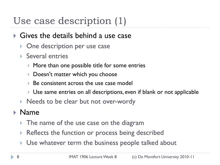 Use case description (1)