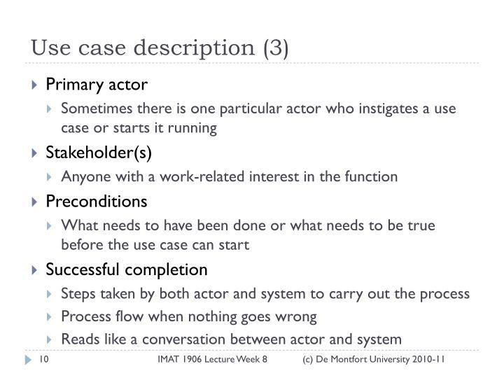 Use case description (3)