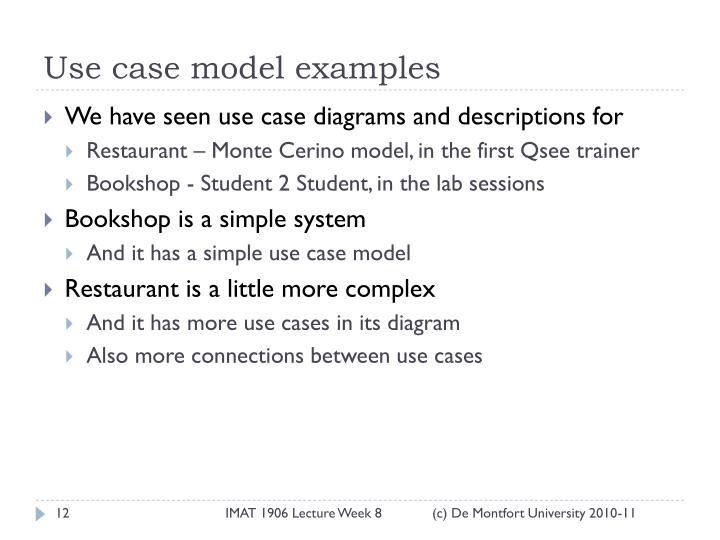 Use case model examples