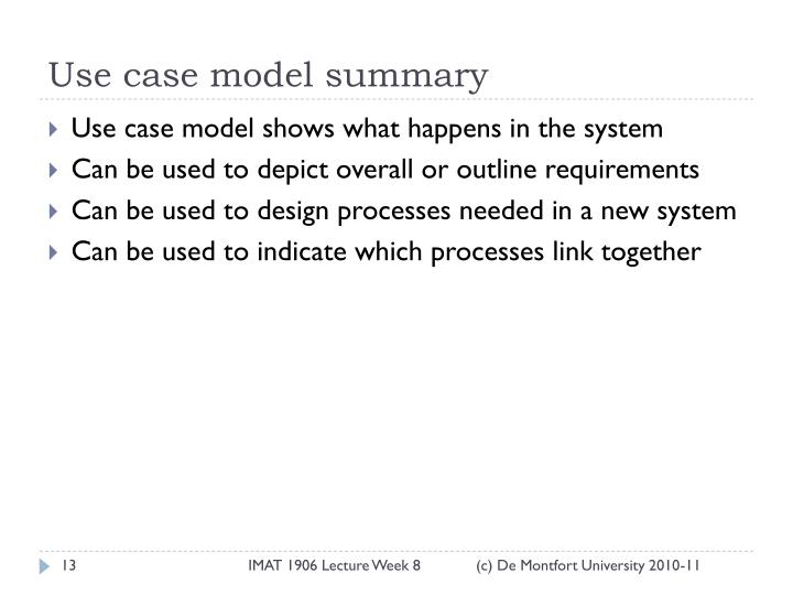 Use case model summary