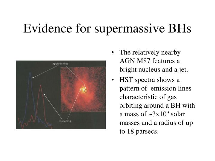 Evidence for supermassive BHs