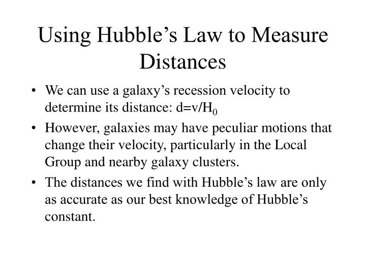 Using Hubble's Law to Measure Distances
