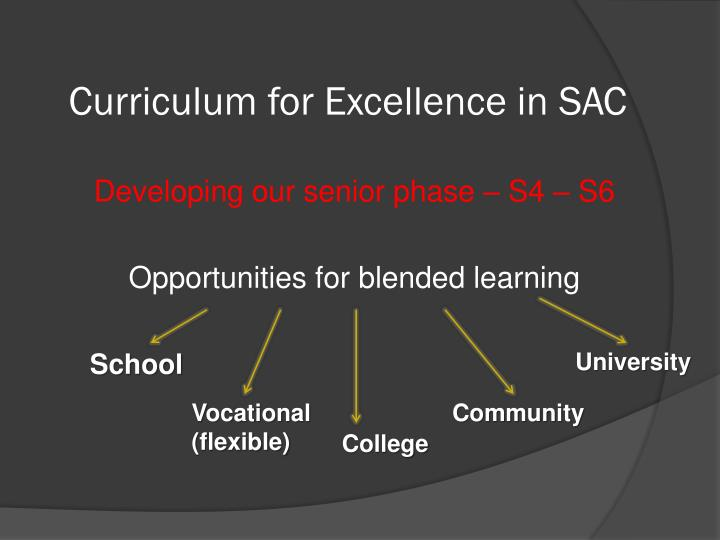 Curriculum for Excellence in SAC