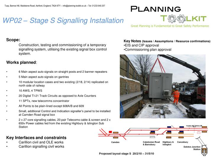 WP02 – Stage S Signalling Installation
