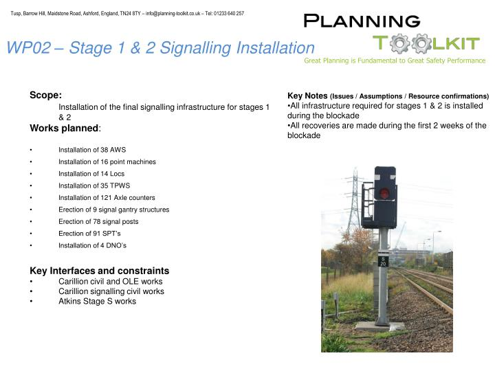 WP02 – Stage 1 & 2 Signalling Installation