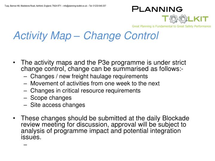 Activity Map – Change Control