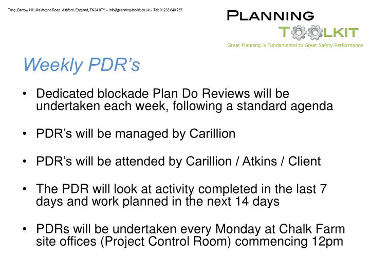 Weekly PDR's