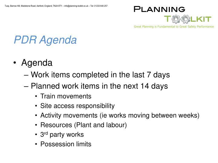 PDR Agenda