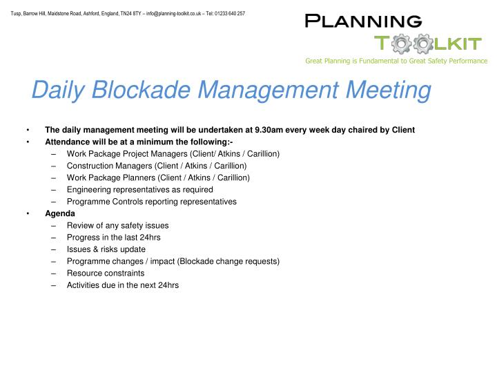Daily Blockade Management Meeting