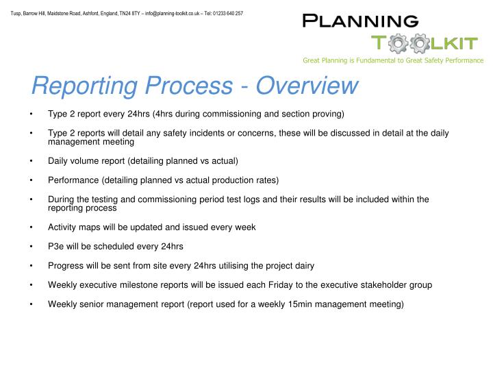 Reporting Process - Overview
